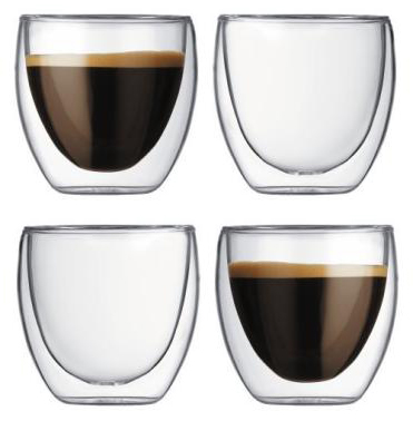 4 pc Bodum Pavina 4557-10US Double Wall Espresso Shot Glass 2.5 oz
